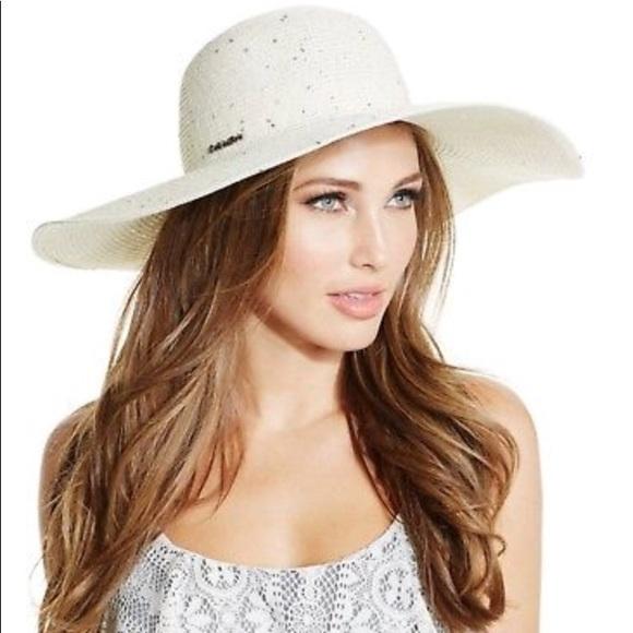 96a85de7 Calvin Klein Accessories | Nwt 48 Sequin Beach Hat | Poshmark